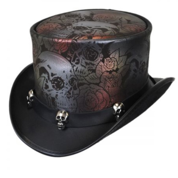 1675dc30855 NWOT Skull N Roses Leather Top Hat. M 5bb3baaca31c33c8e937abbe. Other  Accessories ...